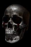 La vista lateral del cráneo humano asustadizo, sangre rasga Fotografía de archivo libre de regalías
