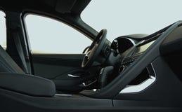 La vista lateral del hilo azul cosió asientos delanteros con el bajo de cuero oscuro dentro de un coche fotos de archivo libres de regalías