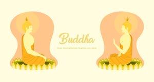 La vista lateral izquierda-derecha de Buda del phra del monje que se sienta en la base del loto para ruega el lanzamiento compues stock de ilustración