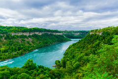 La vista magnífica del río de Niagara Falls con el torrente del agua cambia precipitadamente la dirección imagen de archivo