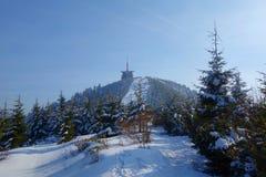 La vista nevosa dell'inverno sull'più alta montagna ha chiamato Lysa Hora, Beskydy, repubblica Ceca Fotografia Stock