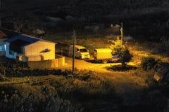 La vista nocturna de la isla de Jeju fotos de archivo libres de regalías