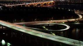 La vista nocturna de Seúl Opinión de top de la autopista del lapso de tiempo almacen de video