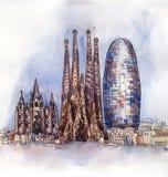 La vista panorámica de la acuarela de Barcelona ilustración del vector
