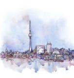 La vista panorámica de la acuarela de Berlín stock de ilustración