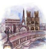 La vista panorámica de la acuarela de París stock de ilustración