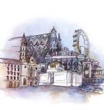 La vista panorámica de la acuarela de Viena stock de ilustración