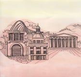 La vista panorámica de la ciudad de Atenas del país de Grecia de la unión europea stock de ilustración