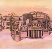 La vista panorámica de la ciudad de Bucarest del país de Rumania de la unión europea stock de ilustración