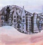 La vista panorámica de la Praga libre illustration