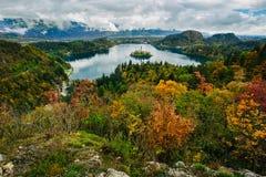 La vista panoramica aerea strabiliante del lago ha sanguinato, la Slovenia, Europa (Osojnica) Fotografia Stock