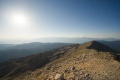 La vista panoramica dalla montagna di Olympos Fotografie Stock