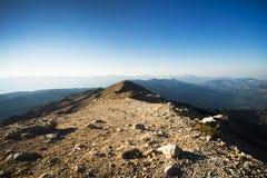 La vista panoramica dalla montagna di Olympos Immagini Stock