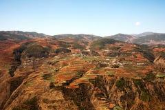 La vista panoramica del paesaggio cinese del villaggio dell'agricoltura circondato da rosso ha colorato le montagne Immagini Stock