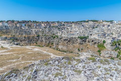 La vista panoramica delle pietre tipiche alloggia Sassi di Matera della capitale europea dell'Unesco di Matera di cultura 2019 so Fotografia Stock Libera da Diritti