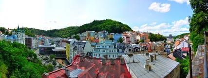 La vista panoramica di Karlovy varia in autunno Immagine Stock Libera da Diritti