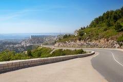 La vista panoramica di Marsiglia dalla strada della montagna Fotografia Stock Libera da Diritti