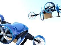 La vista posterior de los abejones VTOLES azules que llevan entrega empaqueta el vuelo en el cielo Imagen de archivo