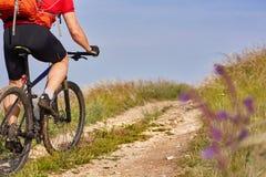 La vista posterior y el primer del montar a caballo joven del ciclista bike en el campo del verano en el campo Imagen de archivo libre de regalías