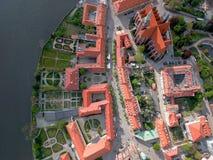 La vista a?rea de Wroclaw: Ostrow Tumski, catedral de St John el Bautista y la iglesia colegial de la cruz y del St santos Barth fotografía de archivo libre de regalías