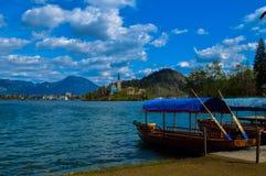 La vista sbalorditiva di bello lago ha sanguinato, la Slovenia immagini stock libere da diritti