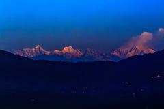 La vista scenica di Kanchenjunga è la terza più alta montagna in Fotografia Stock