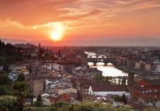 La vista sopra Firenze al tramonto tuscany L'Italia Immagini Stock Libere da Diritti
