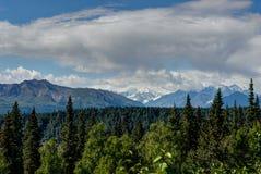 La vista sopra gli alberi con catena montuosa e le nuvole nell'Alaska si è unita Fotografia Stock Libera da Diritti