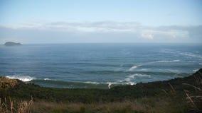 La vista sulla rottura della spiaggia ondeggia sulla spiaggia della spuma video d archivio