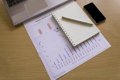 La vista superior de la tabla de madera de la oficina con analiza la carta, revestimiento del ordenador Imagenes de archivo