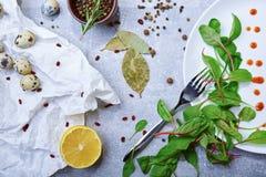 La vista superior de una tabla con la bahía se va, las hojas de la ensalada verde, huevos de codornices, una mitad del limón en u Imagen de archivo