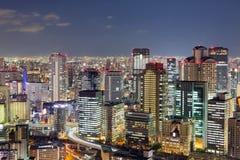 La vista superiore, città di Osaka accende la vista di notte Fotografia Stock Libera da Diritti