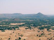 La vista superiore del paesaggio del villaggio, raccolto del villaggio sistema in Tailandia Fotografia Stock