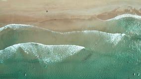 La vista superiore delle onde si rompe sulla spiaggia di sabbia e sui surfisti bianchi tropicali con i bordi praticanti il surfin video d archivio