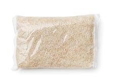 La vista superiore di riso ha imballato nel sacchetto di plastica immagine stock