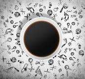 La vista superiore di una tazza di caffè e molte icone nere educative sono disegnate intorno  illustrazione di stock