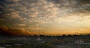 La vista superiore sulla città di sera Fotografie Stock Libere da Diritti