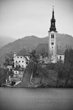 La vista verticale sull'isola con la chiesa in alpi julian sul lago ha sanguinato in bianco e nero Fotografie Stock Libere da Diritti