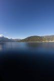 La vista a Zell vede il lago Zell & Kitzsteinhorn Fotografia Stock