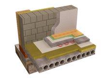 La visualización del aislamiento concreto del piso, 3D rinde, imagen generada por ordenador Foto de archivo libre de regalías