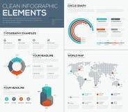 La visualizzazione di dati della mappa e del diagramma a torta di mondo vector il infographics Fotografie Stock