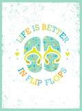La vita è migliore nei flip-flop Vacanze estive ed illustrazione di vettore di vacanza illustrazione di stock