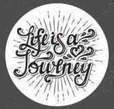 La vita è un viaggio Scriva la progettazione a macchina Vettore Immagini Stock