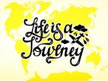La vita è un viaggio Scriva la progettazione a macchina Vettore Immagine Stock Libera da Diritti