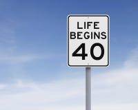 La vita comincia a quaranta immagine stock