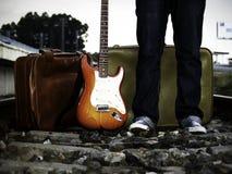 La vita del chitarrista Fotografie Stock Libere da Diritti