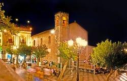 La vita di notte in Taormina Fotografie Stock