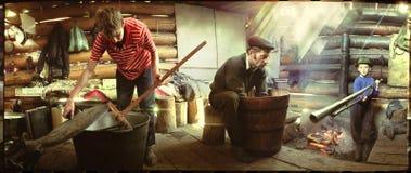 La vita tradizionale degli abitanti degli altipiani scozzesi. Immagine Stock
