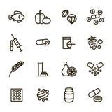 La vitamina y las muestras dietéticas ennegrecen la línea fina sistema del icono Vector libre illustration