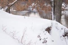 La voûte des branches des arbres qui accrochent au-dessus de la rivière image libre de droits
